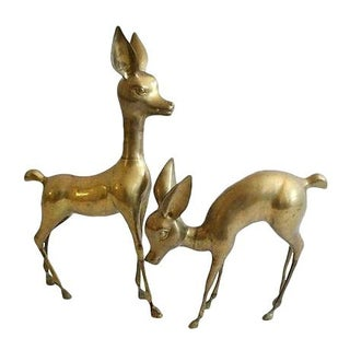 Oversized Brass Deer - A Pair