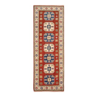 "Kazak Garish Major Red Ivory Wool Rug - 2'0"" x 5'11"""