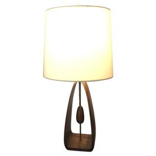 Modaline Walnut & Brass Lamp Re-Wired