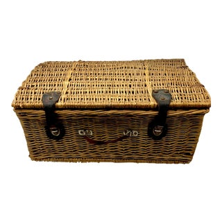 1950s Vintage Wicker Suitcase Basket