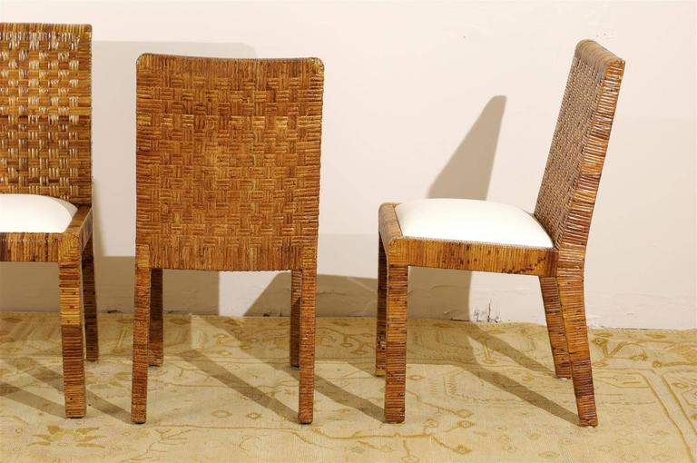 Restored Set Of Eight Vintage Rattan Dining Chairs By Bielecky Brothers    Image 7 Of 10