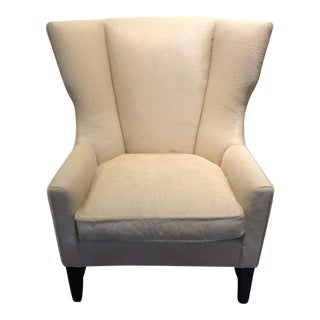 Charles Stewart Modern Wingback Chair in Edelman Leather Vanilla Cavallini