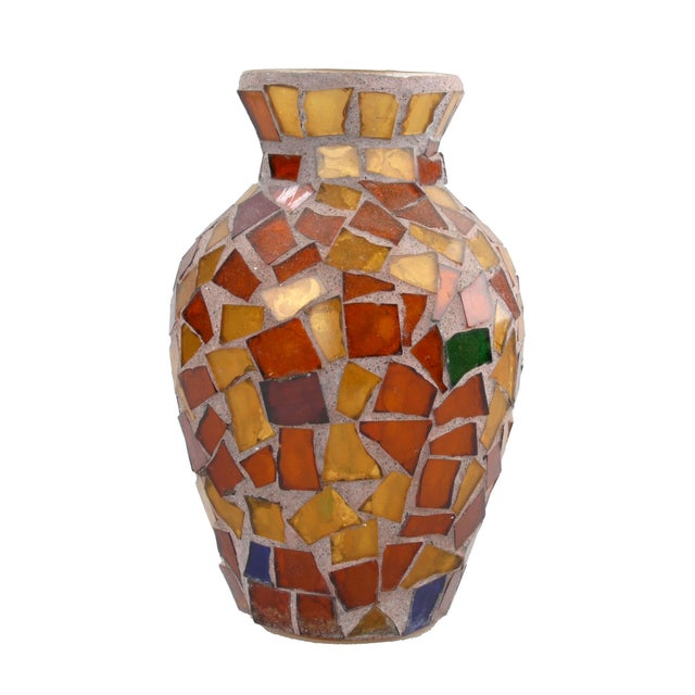 Amber Glass Mosaic & Terracotta Vase - Image 1 of 6