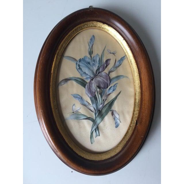 2 Vintage Florentine Framed Silk Botanicals - Image 5 of 7
