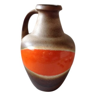 Orange and Brown Fat Lava Floor Vase