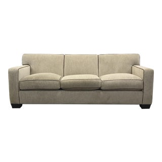 Ivory Boucle Textured Sofa with Leather Piping