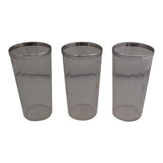 Mid-Century Silver Rim Bar Glasses- Set of 3
