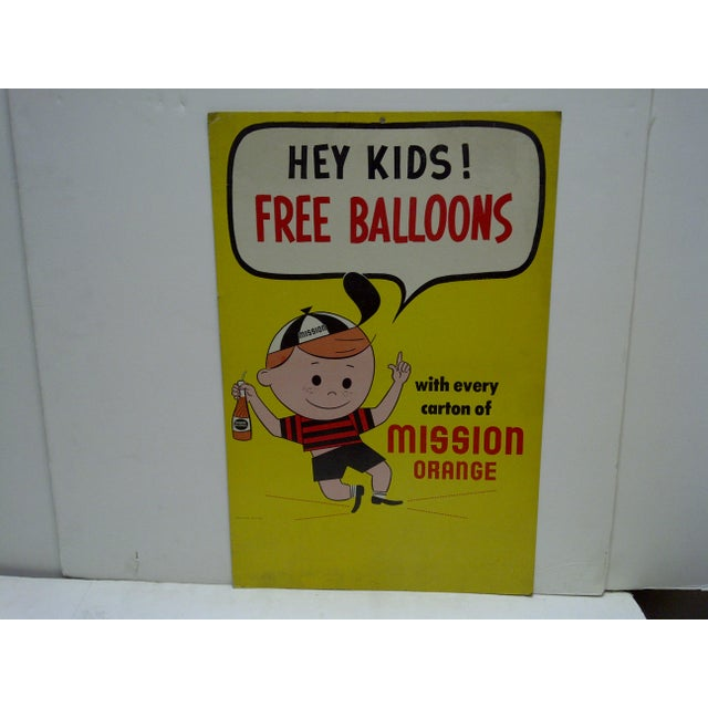 1960 39 s vintage hey kids free balloons mission orange sign chairish. Black Bedroom Furniture Sets. Home Design Ideas