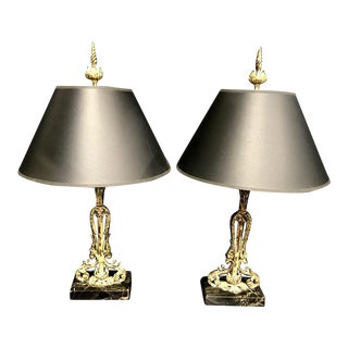 Vintage French / Rustic With Marble Bases Buffet Lamps - a Pair