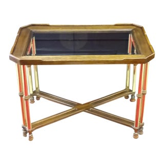 Hollywood Regency Glass Top Wood & Brass End Table