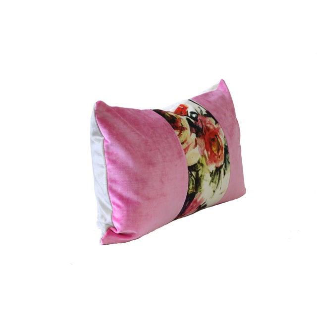 Pink Poppies Designer Velvet Down Pillow - Image 2 of 2