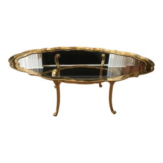 Hollywood Regency Scalloped Brass Coffee Table