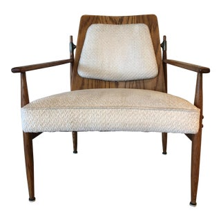 Mid Century Wood Chair with Metal Support Detail in Back