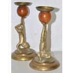 Image of Arthur Court Vintage Brass & Teak Candlesticks - A Pair