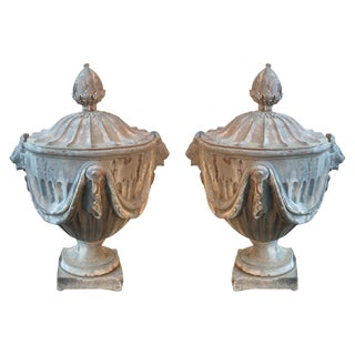 19th C. English Lead Monumental Garden Urns - A Pair