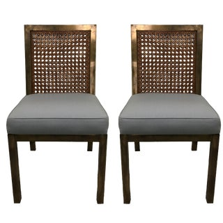 Widdicomb Brass & Cane Parsons Side Chairs - A Pair