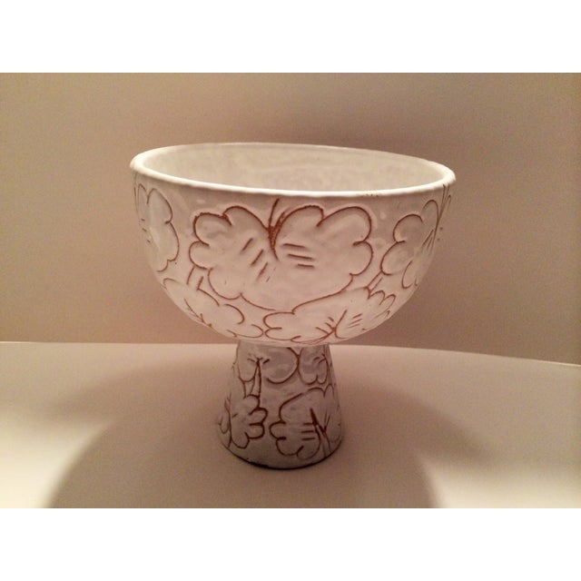 Image of Italian Bitossi White Floral Motif Compote