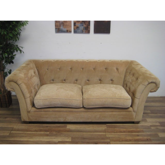 Cream Tufted Chenille Round Arm Sofa by Bauhaus - Image 3 of 5