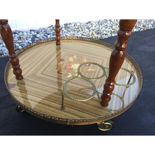 Vintage Sorrento Italian Lacquered Marquetry Bar Cart - Image 5 of 8