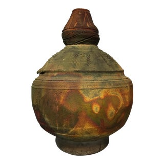 Green & Copper Raku Pottery Vase