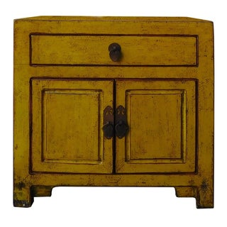 Chinese Oriental-Style Small Cabinet in Mustard
