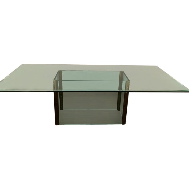 Large Pace Collection Glass & Brass Dining Table - Image 1 of 11