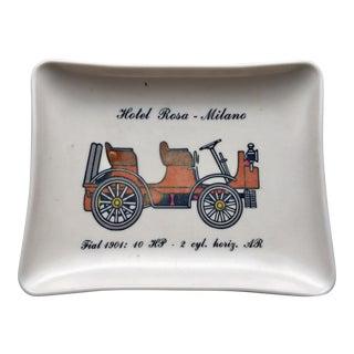 "Vintage Italian Tourist Hotel Rosa - Milano ""Fiat 1901"" Melamine Tip Tray"