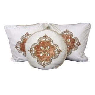 Dupioni Silk Appliqué Pillows - Set of 3