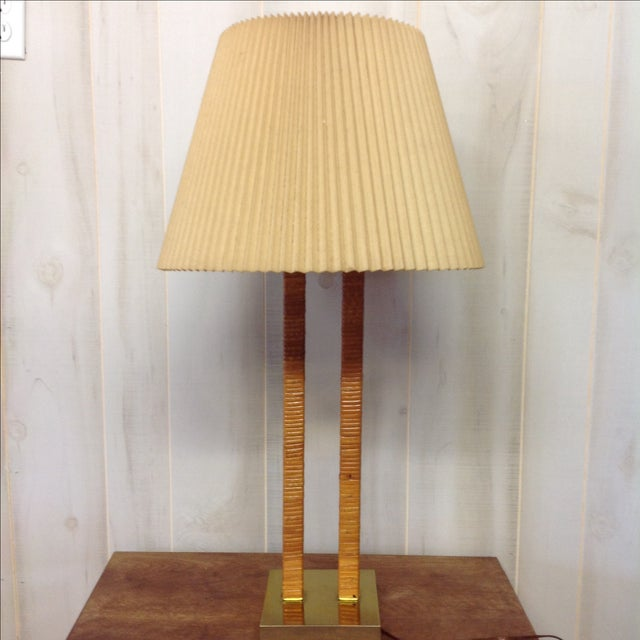 Hollywood Regency Rattan Wrapped Brass Table Lamp - Image 5 of 7