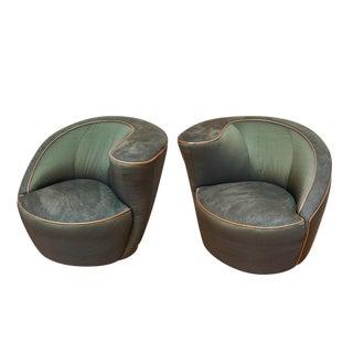 Mid Century Modern Vladimir Kagan Directional Swivel Nautilus Chairs - A Pair