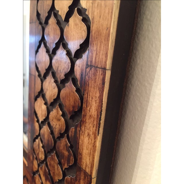 Moroccan Lattice Trellis Bone & Wood Wall Mirror - Image 4 of 4