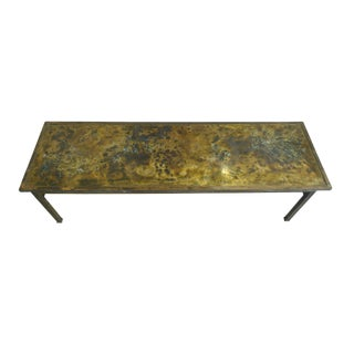 1960s Philip & Kelvin LaVerne Etched Bronze Coffee Table
