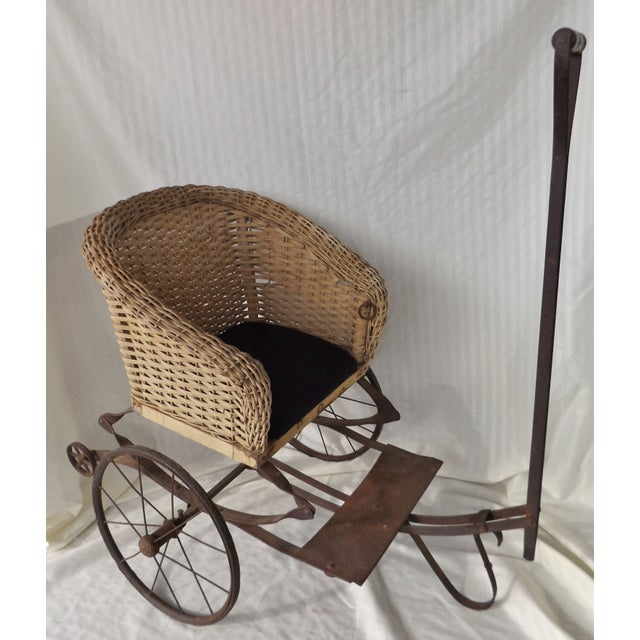 Antique Wicker Childs 2 Wheel Sulky Carriage - Image 2 of 8
