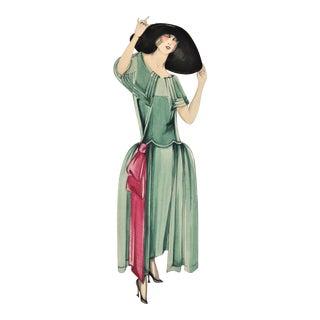 Original Art Deco Fashion Watercolor Drawing