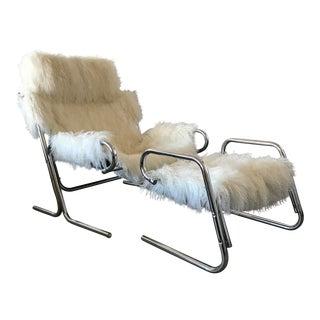 Jerry Johnson Mongolian Sheepskin Chrome Lounge Chair