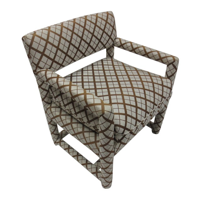 Mid-Century Brown & White Armchairs - A Pair - Image 5 of 9
