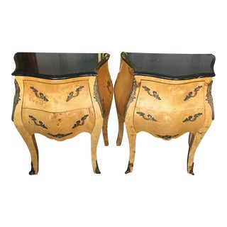 Louis XV Inspired Burl Wood & Marble-Top Nightstands - A Pair