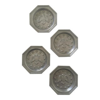 Vintage Federal Eagle Pewter Coasters by International Silver Co. - Set of 4
