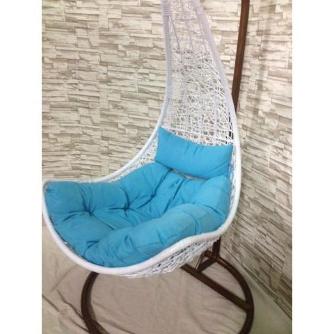 Single Tear Drop Rattan Swing Chair - Image 4 of 6