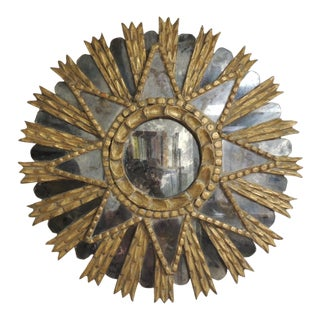 19th Century Gilded Wood Sunburst Round Mirror