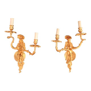 Vintage Rococo Style Gilt-Bronze Sconces - Pair