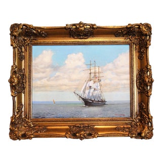 T L Storey Clipper Ship Marine Oil Painting