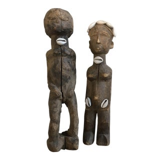 Tribal Statues With Shells - A Pair