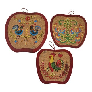 Mid-Century Cork Rooster Hot Pads - Set of 3