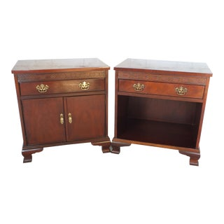Baker Mahogany Chippendale Nightstands - a Pair