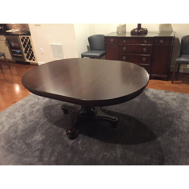 pottery barn montego pedestal extension dining table chairish. Black Bedroom Furniture Sets. Home Design Ideas