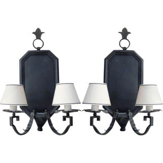 Spanish Mediterranean Iron Wall Light Sconces by Paul Ferrante - a Pair