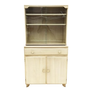Mid-Century Two Piece Glass Hutch