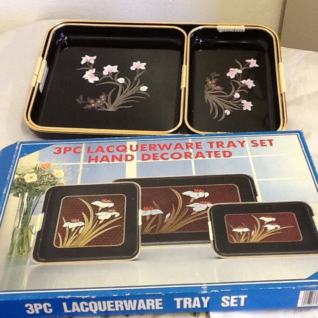 3 Mid-Mod Lacquerware Hand Decorated Trays-Unused - Image 5 of 7