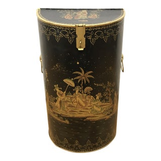Chinoiserie Black and Gold Tole Lidded Bucket